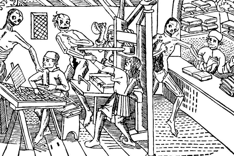 Изображение типографии на гравюре «Танец смерти», Лион, Франция