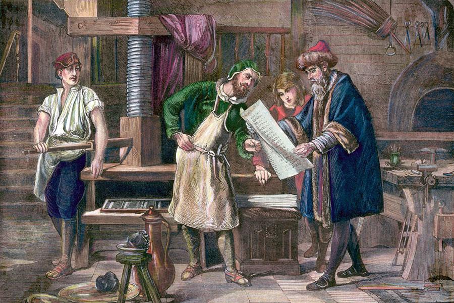 Гуттенберг рассматривает лист первой печатной книги